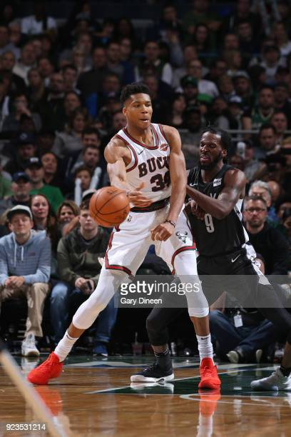 Giannis Antetokounmpo of the Milwaukee Bucks passes the ball against the Brooklyn Nets on January 26 2018 at the BMO Harris Bradley Center in...