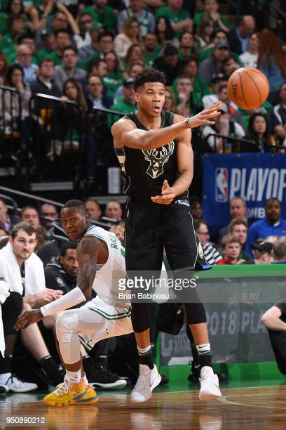 Giannis Antetokounmpo of the Milwaukee Bucks passes the ball against the Milwaukee Bucks Game Five of Round One of the 2018 NBA Playoffs on April 24...