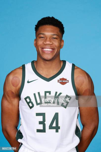 Giannis Antetokounmpo of the Milwaukee Bucks posed for a portrait during media day on September 25 2017 at the Froedtert and Medical College of...