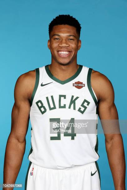 Giannis Antetokounmpo of the Milwaukee Bucks poses for a headshot during Milwaukee Bucks Media Day at Fiserv Forum on September 24 2018 in Milwaukee...