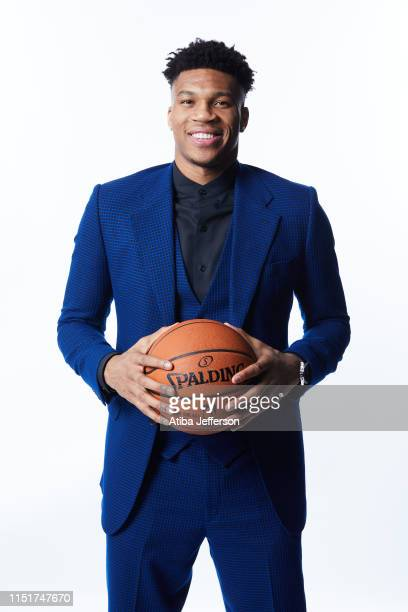 Giannis Antetokounmpo of the Milwaukee Bucks poses for a portrait after winning the NBA Most Valuable Player Award during the 2019 NBA Awards Show at...
