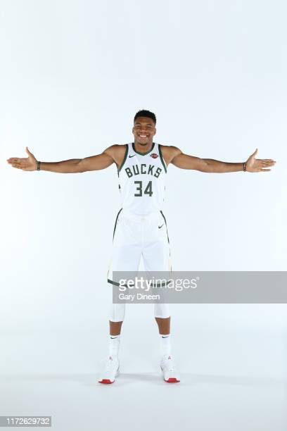 Giannis Antetokounmpo of the Milwaukee Bucks poses for a portrait during Media Day at Fiserv Forum on September 30 2019 in Milwaukee Wisconsin NOTE...
