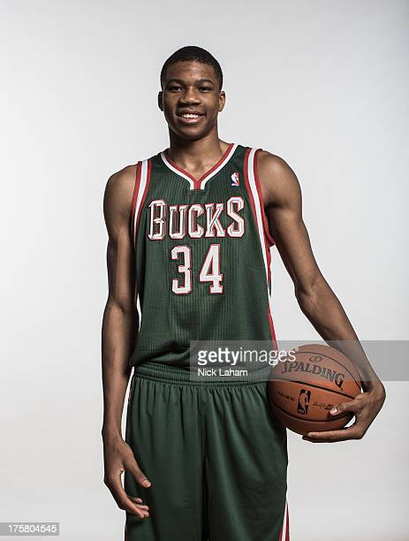Giannis Antetokounmpo of the Milwaukee Bucks poses for a portrait during the 2013 NBA rookie photo shoot at the MSG Training Center on August 6 2013...