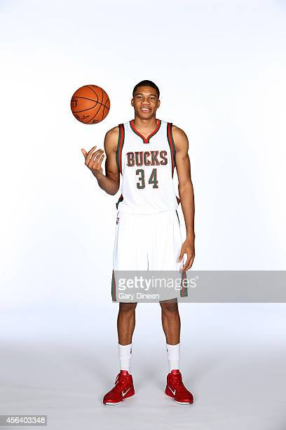 Giannis Antetokounmpo of the Milwaukee Bucks poses for a portrait during media day on September 29 2014 at the Bucks Training Center in St Francis...