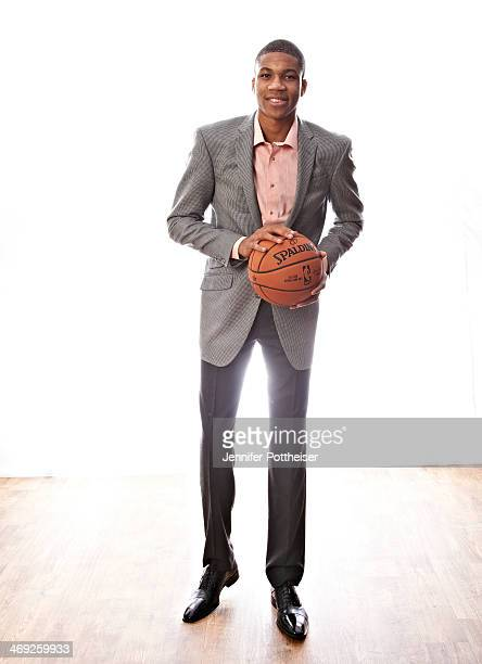 Giannis Antetokounmpo of the Milwaukee Bucks poses for portraits during the NBAE Circuit as part of 2014 AllStar Weekend at the Hyatt Regency Hotel...