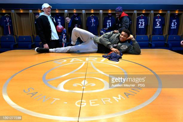 Giannis Antetokounmpo of the Milwaukee Bucks poses in the Paris SaintGermain locker room as he attends a team visit at Parc des Princes on January 22...