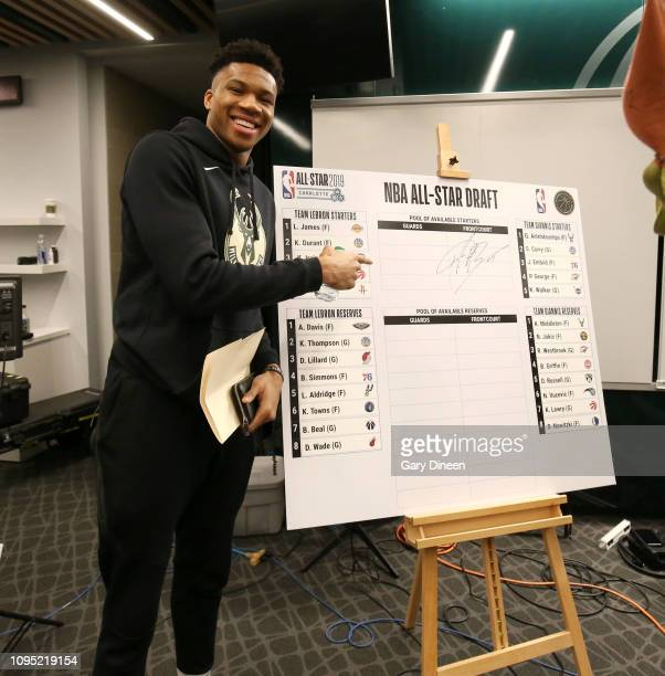 Giannis Antetokounmpo of the Milwaukee Bucks presents his AllStar team during the 2019 AllStar Draft on February 7 2019 at the Fiserv Forum Center in...