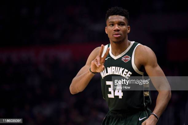 Giannis Antetokounmpo of the Milwaukee Bucks reacts as he watches play from half court during a 129124 Bucks win over the LA Clippers at Staples...