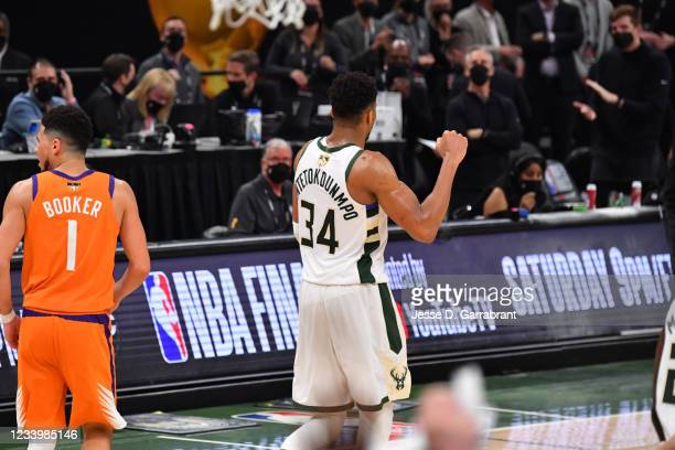 Giannis Antetokounmpo of the Milwaukee Bucks reacts during Game Four of the 2021 NBA Finals on July 14, 2021 at Fiserv Forum in Milwaukee, Wisconsin....