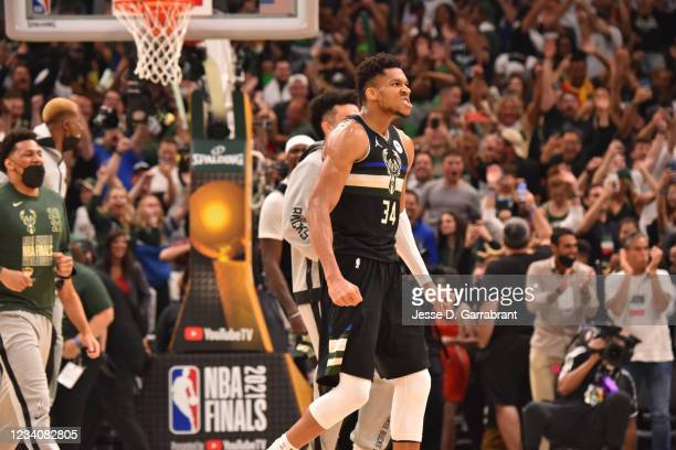 Giannis Antetokounmpo of the Milwaukee Bucks reacts during Game Six of the 2021 NBA Finals on July 20, 2021 at Fiserv Forum in Milwaukee, Wisconsin....