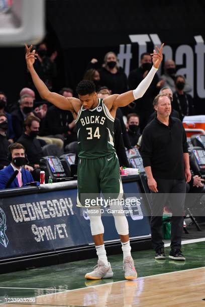 Giannis Antetokounmpo of the Milwaukee Bucks reacts during Game Three of the 2021 NBA Finals on July 11, 2021 at Fiserv Forum in Milwaukee,...