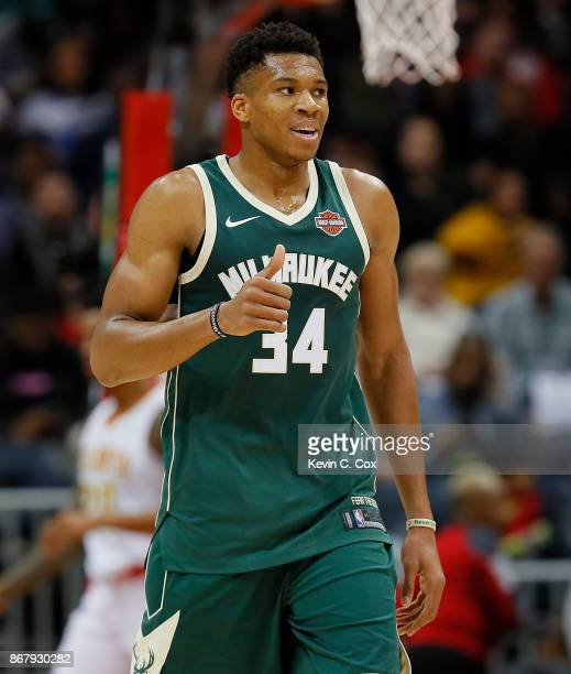 Giannis Antetokounmpo of the Milwaukee Bucks reacts during the game against the Atlanta Hawks at Philips Arena on October 29 2017 in Atlanta Georgia...