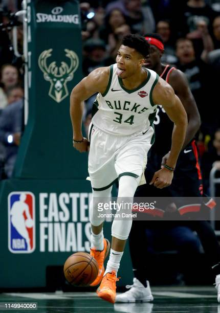 Giannis Antetokounmpo of the Milwaukee Bucks reacts in the first quarter against the Toronto Raptors during Game Two of the Eastern Conference Finals...
