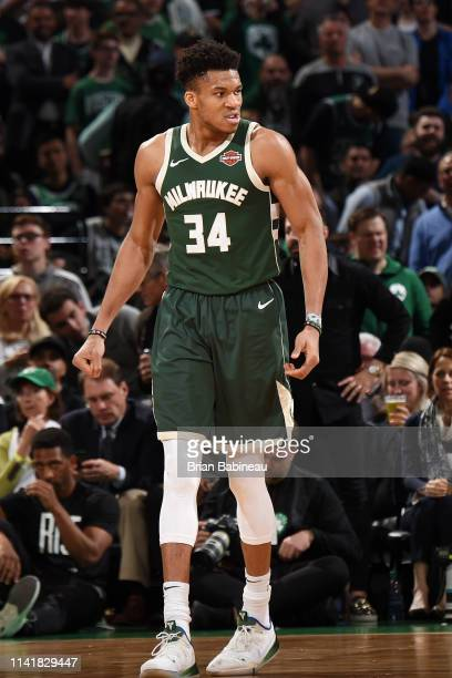 Giannis Antetokounmpo of the Milwaukee Bucks reacts to a play against the Boston Celtics during Game Four of the Eastern Conference Semifinals of the...