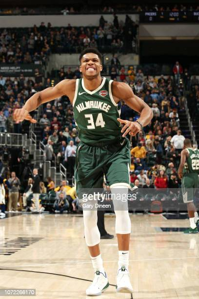 Giannis Antetokounmpo of the Milwaukee Bucks reacts to a play during the game against the Indiana Pacers on December 12 2018 at the Bankers Life...