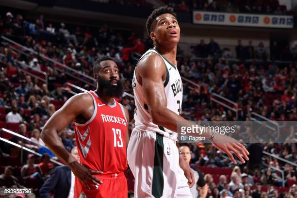Giannis Antetokounmpo of the Milwaukee Bucks reacts to a play during the game against the Houston Rockets on December 16 2017 at the Toyota Center in...