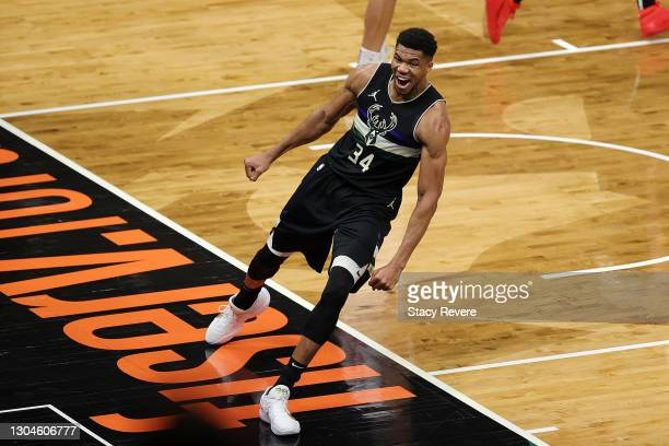 Giannis Antetokounmpo of the Milwaukee Bucks reacts to a score during the second half of a game against the LA Clippers at Fiserv Forum on February...