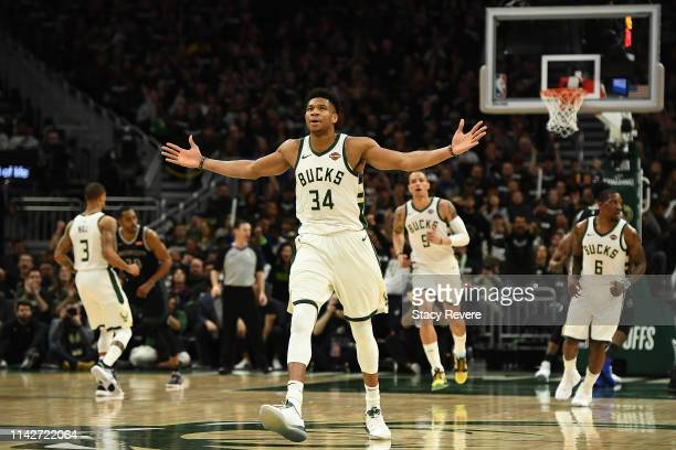 Giannis Antetokounmpo of the Milwaukee Bucks reacts to a three point shot against the Detroit Pistons during Game One of the first round of the 2019...