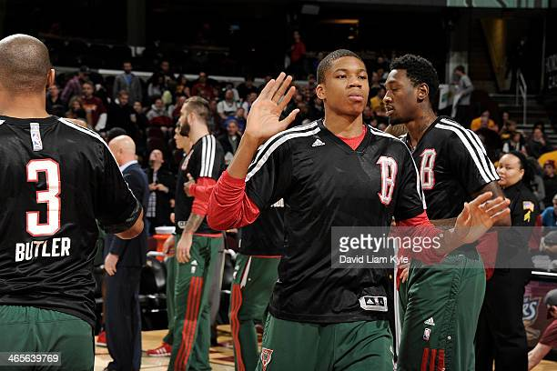 Giannis Antetokounmpo of the Milwaukee Bucks runs out before the game against the Cleveland Cavaliers at The Quicken Loans Arena on January 24 2014...