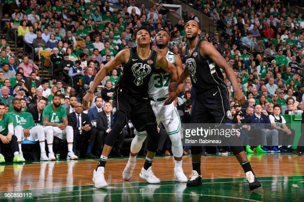 Giannis Antetokounmpo of the Milwaukee Bucks Semi Ojeleye of the Boston Celtics and Khris Middleton of the Milwaukee Bucks box out during Game Five...