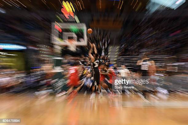 Giannis Antetokounmpo of the Milwaukee Bucks shoots a free throw during a game against the Toronto Raptors at the BMO Harris Bradley Center on...