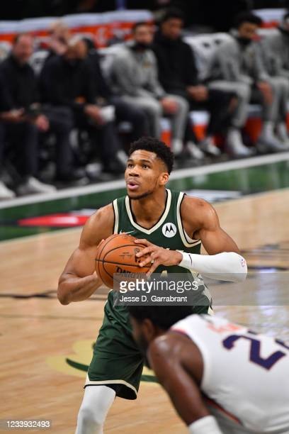 Giannis Antetokounmpo of the Milwaukee Bucks shoots a free throw during Game Three of the 2021 NBA Finals on July 11, 2021 at Fiserv Forum in...