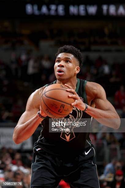 Giannis Antetokounmpo of the Milwaukee Bucks shoots a free throw during the game against the Chicago Bulls on February 11 2019 at the United Center...