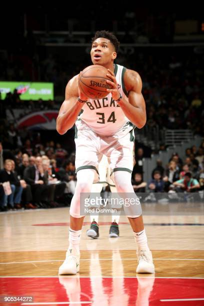 Giannis Antetokounmpo of the Milwaukee Bucks shoots a free throw during the game against the Washington Wizards on January 15 2018 at Capital One...