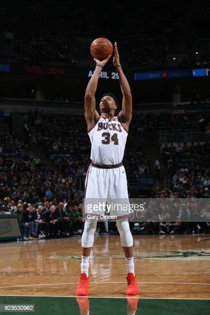 Giannis Antetokounmpo of the Milwaukee Bucks shoots a free throw against the Brooklyn Nets on January 26 2018 at the BMO Harris Bradley Center in...