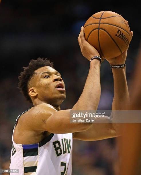 Giannis Antetokounmpo of the Milwaukee Bucks shoots a free throw against the Boston Celtics during Game Four of Round One of the 2018 NBA Playoffs at...