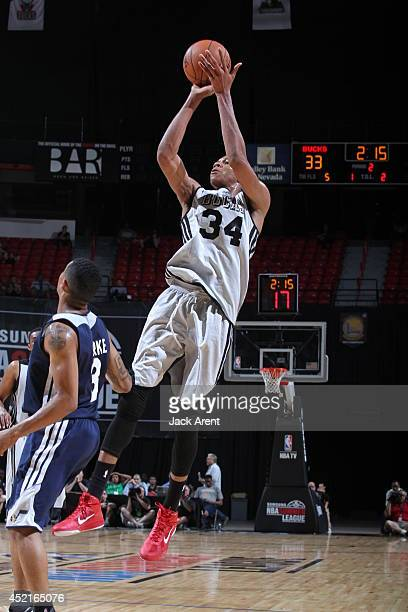 Giannis Antetokounmpo of the Milwaukee Bucks shoots against the Utah Jazz at the Samsung NBA Summer League 2014 on July 14 2014 at the Thomas Mack...