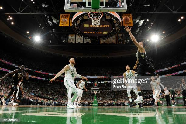 Giannis Antetokounmpo of the Milwaukee Bucks shoots the ball abc during Game Five of Round One of the 2018 NBA Playoffs on April 24 2018 at the TD...