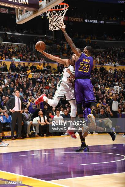 Giannis Antetokounmpo of the Milwaukee Bucks shoots the ball against LeBron James of the Los Angeles Lakers on March 1 2019 at STAPLES Center in Los...