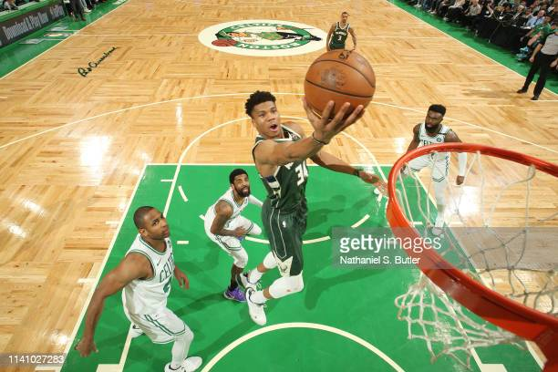 Giannis Antetokounmpo of the Milwaukee Bucks shoots the ball against the Boston Celtics during Game Three of the Eastern Conference Semi Finals of...