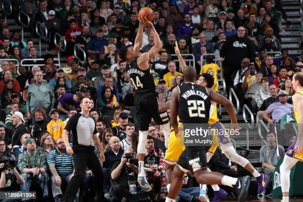 Giannis Antetokounmpo of the Milwaukee Bucks shoots the ball against the Los Angeles Lakers on December 19 2019 at the Fiserv Forum Center in...
