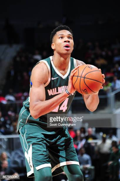 Giannis Antetokounmpo of the Milwaukee Bucks shoots the ball against the Atlanta Hawks on October 29 2017 at Philips Arena in Atlanta Georgia NOTE TO...