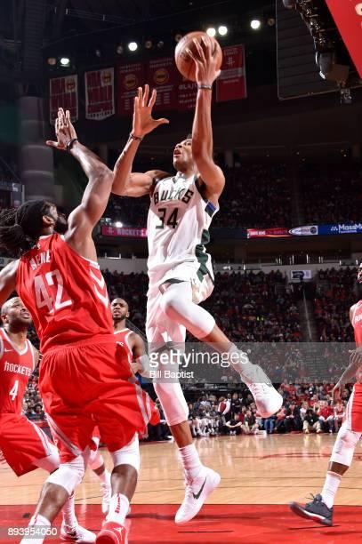 Giannis Antetokounmpo of the Milwaukee Bucks shoots the ball against the Milwaukee Bucks on December 16 2017 at the Toyota Center in Houston Texas...