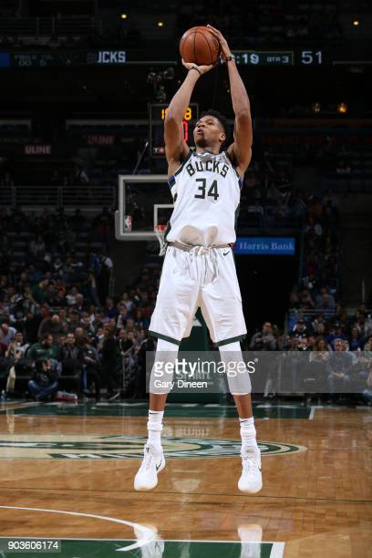 Giannis Antetokounmpo of the Milwaukee Bucks shoots the ball against the Orlando Magic on January 10 2018 at the BMO Harris Bradley Center in...