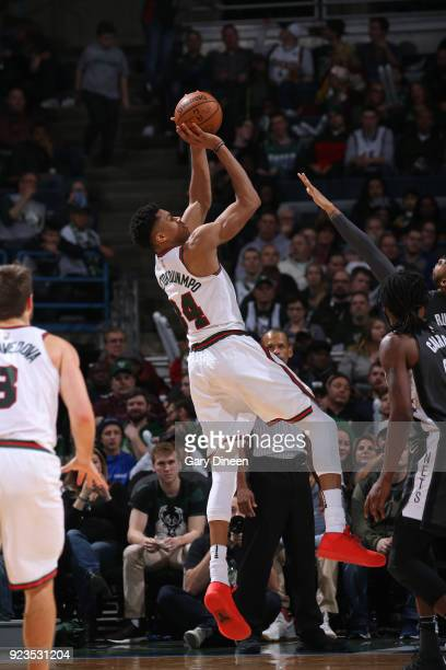 Giannis Antetokounmpo of the Milwaukee Bucks shoots the ball against the Brooklyn Nets on January 26 2018 at the BMO Harris Bradley Center in...