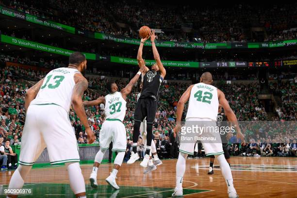 Giannis Antetokounmpo of the Milwaukee Bucks shoots the ball against the Boston Celtics Game Five of Round One of the 2018 NBA Playoffs on April 24...