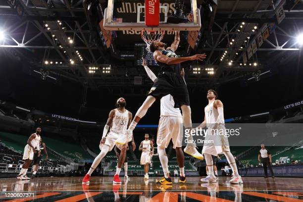 Giannis Antetokounmpo of the Milwaukee Bucks shoots the ball during the game against the Dallas Mavericks on January 15, 2021 at the Fiserv Forum...