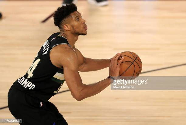 Giannis Antetokounmpo of the Milwaukee Bucks shoots the ball during the third quarter against the Miami Heat in Game Two of the Eastern Conference...