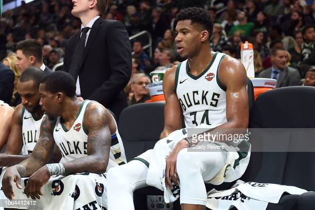 Giannis Antetokounmpo of the Milwaukee Bucks sits for a timeout during a game against the Sacramento Kings at the Fiserv Forum on November 4 2018 in...
