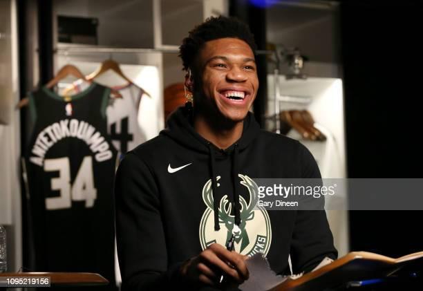 Giannis Antetokounmpo of the Milwaukee Bucks smiles during the 2019 AllStar Draft on February 7 2019 at the Fiserv Forum Center in Milwaukee...