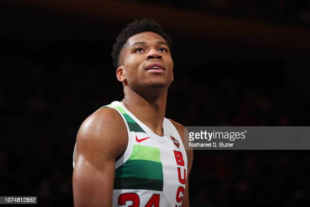 Giannis Antetokounmpo of the Milwaukee Bucks smiles during the game against the New York Knicks on December 25 2018 at Madison Square Garden in New...
