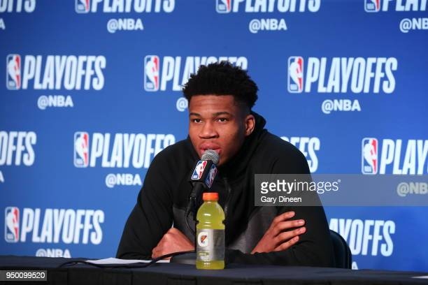 Giannis Antetokounmpo of the Milwaukee Bucks speaks with media after the game against the Boston Celtics in Game Four of Round One of the 2018 NBA...