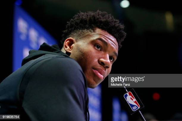 Giannis Antetokounmpo of the Milwaukee Bucks talks to the media during NBA AllStar Media Day as part of 2018 NBA AllStar Weekend at the Los Angeles...