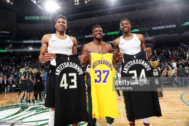 Giannis Antetokounmpo of the Milwaukee Bucks, Thanasis Antetokounmpo of the Milwaukee Bucks, and Kostas Antetokounmpo of the Los Angeles Lakers...