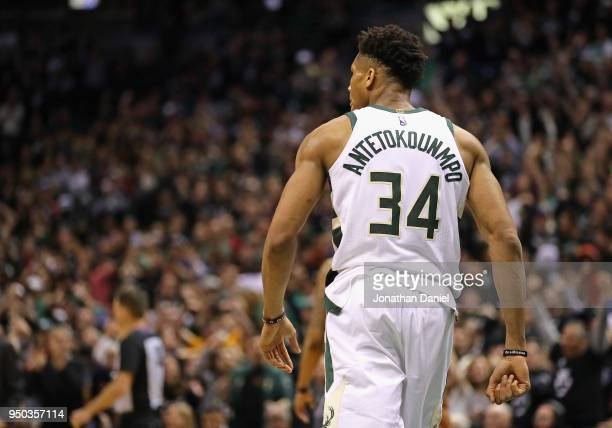 Giannis Antetokounmpo of the Milwaukee Bucks turns up the court against the Boston Celtics during Game Four of Round One of the 2018 NBA Playoffs at...
