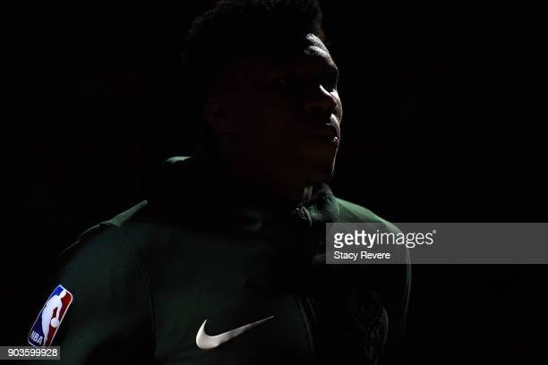 Giannis Antetokounmpo of the Milwaukee Bucks waits on the bench during player introductions prior to a game against the Orlando Magic at the Bradley...